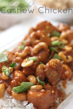Slow Cooker Cashew Chicken Recipe ~ The chicken was cooked so perfectly in the crockpot and the flavor and cashews mixed together was so yummy!