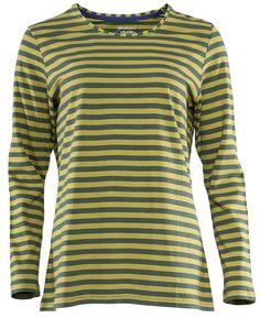Gudrun Sjödéns Herbstkollektion 2014 - Basic-Streifenshirt aus Öko-Baumwolle in opalgrün-zichorie