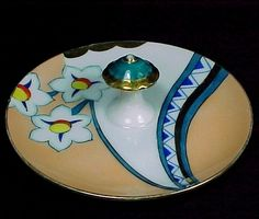 I love this! Noritake Art Deco Hand Painted Floral Lemon Dish Nappy with Center Handle. Beautiful way to display Business Cards on desk or counter.