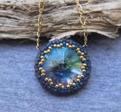 Beaded Turquoise/Green Crystal Rivoli by SleepingCatDesigns, $48.00