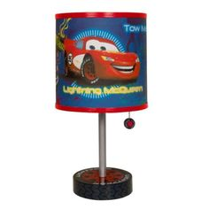 Brighten up your child's room with this adorable Disney Cars Table Lamp. This Disney Cars Lamp imitates a tire, while the shade sports vivid Disney artwork. Your kids will love to turn it on and off over and over again. Car Themed Rooms, Disney Themed Rooms, Car Bedroom, Bedroom Themes, Bedroom Decor, Bedroom Ideas, Disney Cars Room, Disney Pixar, Disney Car Accessories