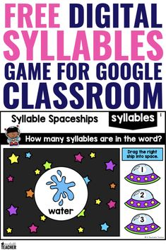 Are you looking for free syllables activities that you can use for Google Classroom? This fun and engaging syllables game helps kindergarteners and first graders practice words with one to three syllables. #FamilyGamesOnline Phonics Games Online, Phonics Activities, Preschool Curriculum, Educational Activities, Reading Intervention, Reading Skills, Teaching Reading, Reading Fluency, Google Classroom
