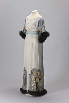 Paul Poiret, 1913.  With a silk flowered ribbon, white crepe de chine, long pile fur of black, silver lace, metallic thread, metal, gilding, glass beads, glass beads, rhinestones and embroidery. The State Hermitage Museum.