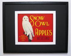 1930s Original Art Deco Snow Owl Brand Apples Fruit Crate Label w. New Conservation Framing, Yakima WA. USA.            by FruitCrateLabelArt, $115.00