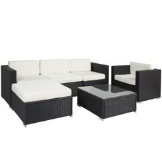 6PC Outdoor Wicker Rattan Sofa Sectional: $549 (Jet)
