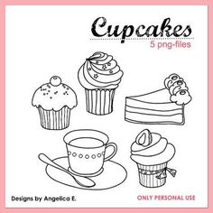 Free Cupcake Digital Stamps {Digital Stamps}
