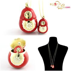 Red Enameled Matryoshka Necklace Set: Each set consists of a mother locket on a long gold plated chain & a baby doll pendant on a long gold plated chain. The mother locket is around 1 3/8 inches high while the baby is 5/8 inch high. The pendants are made of gold plated brass and then hand painted in red enamel. http://bijouxdelou.com/index.php/products/by-theme/signature-pieces/product/red-enameled-matryoshka-necklace-set