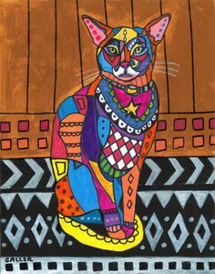 Cat Art  Abyssinian Art  Cat Folk Art Cat by HeatherGallerArt, $24.00