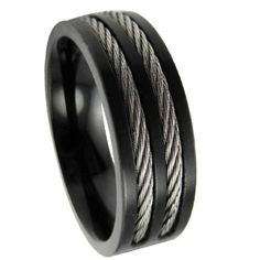 Men's Stainless Steel Black Cable Ring with Flat Face and Polished Finish | 8mm - JSS0620, this is sweet