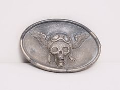 Winged Skull Motorcycle Belt Buckle 1970s by FancyThatVintage,  28.00 LOVE  this for Garrett! Vintage ba4c225cb44