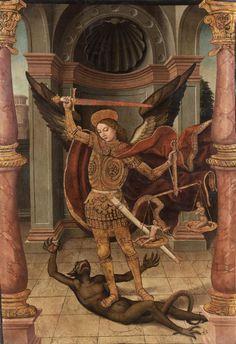 Attribué à Pedro Romana (Actif à Cordoue entre 1488 et 1529), Saint Michel terrassant le démon. Photo Artcurial