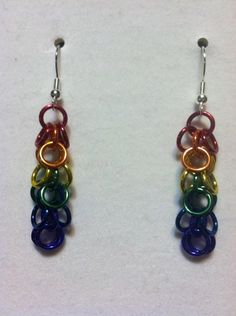 Chainmaille earrings shaggy loops weave rainbow by TheBlueCelt, $12.00
