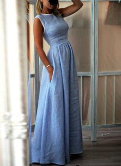 Cotton Polyester Solid Sleeveless Maxi Casual Dresses