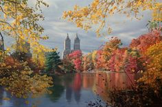 """Autumn in Central Park, 36""""x54"""" oil painting by Nick Savides"""