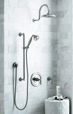 Chapter 15 Bathroom Jeffrey Court tile 4 x 6 for shower walls and behind vanity