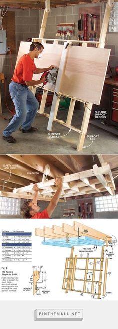 Fold-Down Cutting Rack #woodworkingideas #woodworkingbench