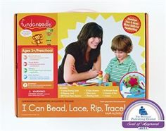 Sale price: $22.49 @Fundanoodle I Can Bead, Lace, Rip, Trace Kit. This all-in-one kit is full of creative and challenging activities that help kids develop the critical fine motor skills needed for writing and other everyday activities. Kids build self-esteem and express their artistic side while they improve visual motor control, build muscle strength, improve concentration, and enhance eye-hand coordination. The handy carrying case makes this kit perfect for use at home or on-the-go.