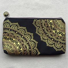 Zipper Pouch Hand Painted Gold Mandala Henna Pattern Coin Purse Cosmetic Bag Gold Pencil Case Gift Phone Pouch Wallets Hand Drawn Mehndi by SnowHennaArt on Etsy https://www.etsy.com/listing/264619802/zipper-pouch-hand-painted-gold-mandala