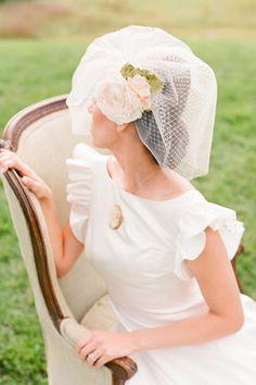 Gorgeous over the head floral veil