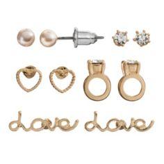 "LC Lauren Conrad Heart, Ring & ""Love"" Stud Earring Set"