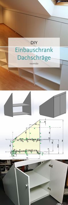 Dachschrägen: Platz optimal ausnutzen, so geht's! Do you want to build a built-in cupboard under the roof pitch? Attic Rooms, Attic Spaces, Small Spaces, Attic Bathroom, Attic Playroom, Loft Storage, Bedroom Storage, Storage Stairs, Storage Shelves