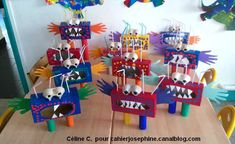 Invasion - Les cahiers de Joséphine Monster Room, Monster Party, Diy For Kids, Crafts For Kids, Arts And Crafts, Kindergarten Art Lessons, Monster Crafts, Easy Thanksgiving Crafts, Recycled Art Projects