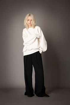 2021-22 A/W 012, Cable Quilting Jacquard Sweat Shirt FRC-T06-210, Vintage Finished Double Georgette Slit Baggy Pants FRC-P03-500 Sweat Shirt, Baggy, Normcore, Vintage, Clothes, Collection, Cable, Quilting, Pants
