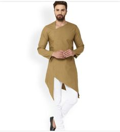 See Designs Men Khaki Solid Straight Kurta - Mens Indian Wear, Indian Groom Wear, Indian Men Fashion, Mens Fashion Wear, Suit Fashion, Green Fashion, Kurta Pajama Men, Kurta Men, Mens Sherwani