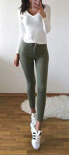 #fall #outfits ·  White Sweater // Army Skinny Pants // White Sneakers