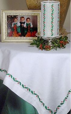 Holly Embroidered Tablecloth