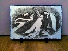 "01 The Who Band Sketch Art Portrait on Slate 12x8"" Rare memorabilia collectables"