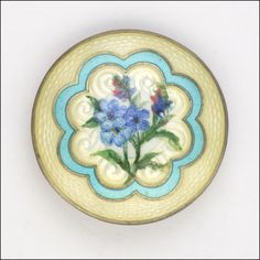 Norwegian Antique Silver Enamel Forgetmenot Brooch -  CLEMENT BERG