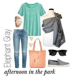 Elephant Gray: Afternoon in the Park by myheartcreative on Polyvore featuring TravelSmith, Current/Elliott, Vince, Herschel Supply Co., Mateo, MVMT and Ray-Ban