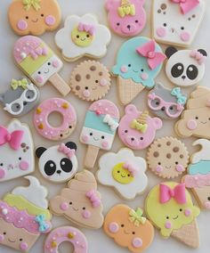 Summer Cookies, Cookies For Kids, Fancy Cookies, Iced Cookies, Cute Cookies, Cookies And Cream, Fondant Cookies, Cupcake Cookies, Kawaii Cookies