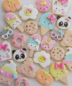 Summer Cookies, Fancy Cookies, Iced Cookies, Cute Cookies, Cookies And Cream, Fondant Cookies, Cupcake Cookies, Biscuit Decoration, Kawaii Cookies