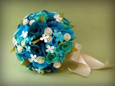 Paper Flower Bouquet - Teal Paper Flower Bouquet. $120.00, via Etsy.