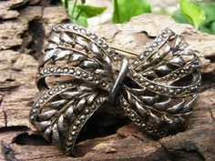 Antique Silver Tone Bow Brooch by GoldiesNaturalGems on Etsy, $12.00