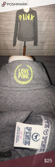 PINK PULLOVER | Gently Worn | Thin Pullover | Neon Yellow Lettering | PINK Victoria's Secret Jackets & Coats