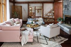 layering in the living room with Beni Ourain rugs