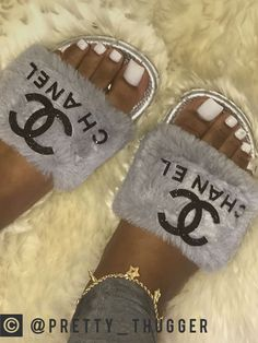 chanel fuzzy slides - Chanel Boots - Trending Chanel Boots for sales. Cute Sandals, Shoes Sandals, Sneakers Fashion, Fashion Shoes, Heeled Boots, Shoe Boots, Cute Slides, Fuzzy Slides, Hype Shoes