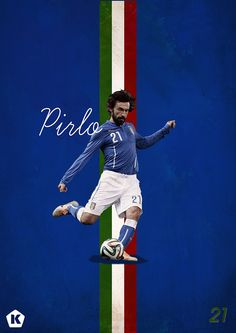 Andrea Pirlo - by Luke Barclay God Of Football, World Football, Football Match, Football Cards, Football Soccer, Football Images, Soccer Logo, Andrea Pirlo, Good Soccer Players