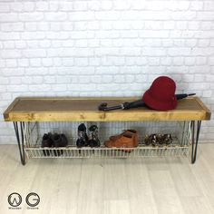 VINTAGE INDUSTRIAL HALLWAY SHOE STORAGE RACK/BENCH WITH HAIRPIN LEGS  A superb vintage industrial storage bench designed and handmade to order by us at Wooden Groove, the bench incorporates a lower storage rack making it ideal for storing shoes, boots, bags etc. Perfect for use in hallways as shoes can be stored underneath and easily put on while sitting on the bench itself.  The rustic top is hand-crafted using solid reclaimed timber which has stacks of character and age related beauty…