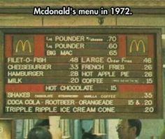 McDonald's Menu & Prices in 1972