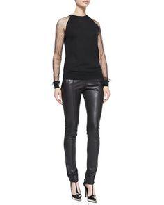 Lace-Sleeve Sweatshirt & Stovepipe Leather Pants by Jason Wu at Bergdorf Goodman. Jason Wu Stovepipe Leather Pants, Black $1,995.00 BGS14_B2P8K
