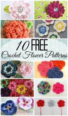 10 Free Crochet Flower Patterns – Chaleur Life – Spring is almost here (yay!) so I'm ready for a bit of color. And what better way than with flowers? Crochet flowers are super versatile, you can put them on hair clips or bobby pins, make them into a brooc Love Knitting, Knitting Patterns, Crochet Patterns, Hat Patterns, Crochet Ideas, Crochet Crafts, Yarn Crafts, Crochet Projects, Love Crochet