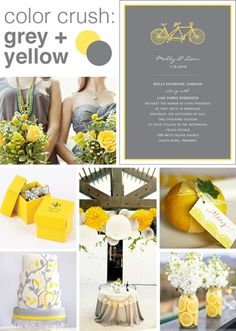 yellow + gray wedding color inspiration Instead of yellow coral. Bridesmaids wear coral dresses w/ gray sash & groomsmen wear gray vests with a coral tie no jacket