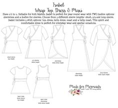 This is a PDF pattern for instant download for this beautiful top and dress. THIS IS NOT A FINISHED GARMENT, it is for the pattern that show you and teach you step by step how to sew it!This pattern comes in sizes 1/2 - 14, see size chart below. Isabel matches perfectly to our Mama Isabel pattern. . Sizes 1/2 to 1. Suitable for knit fabrics. Isabel is perfect for year round wear with TWO bodice options- sleeveless and a bodice for sleeves. Choose from 3 different sleeve lenghts- sho...