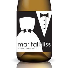 "Marital Bliss ... ""Custom"" Wedding Wine Label Wrap by Gifted Labels"