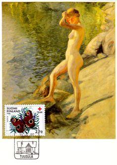 Kuva albumissa PEKKA HALONEN - Google Kuvat.  125 v. 23.9. 1990.  Uimaanlähtö 1910.  Foto: Matti Soinne.