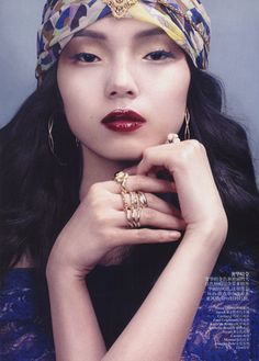 """Xiao Wen Ju in Boho Chic"""" editorial photographed byDavid Slijper for Vogue China May 2012"""